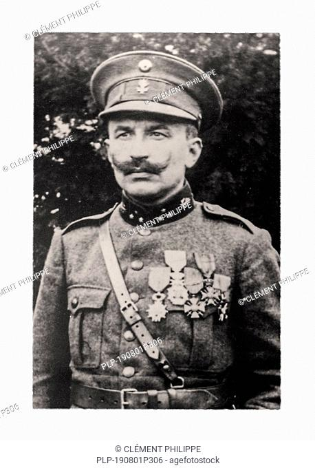 Portrait of WW1 Belgian Captain-commandant Prudent Nuyten who took the decision to flood the Yser plain in WWI, West Flanders, Belgium