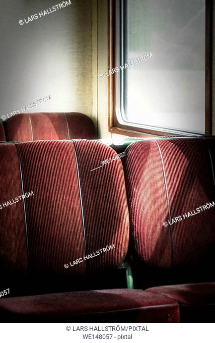 Empty seats in old retro railway carriage. Vintage transportation