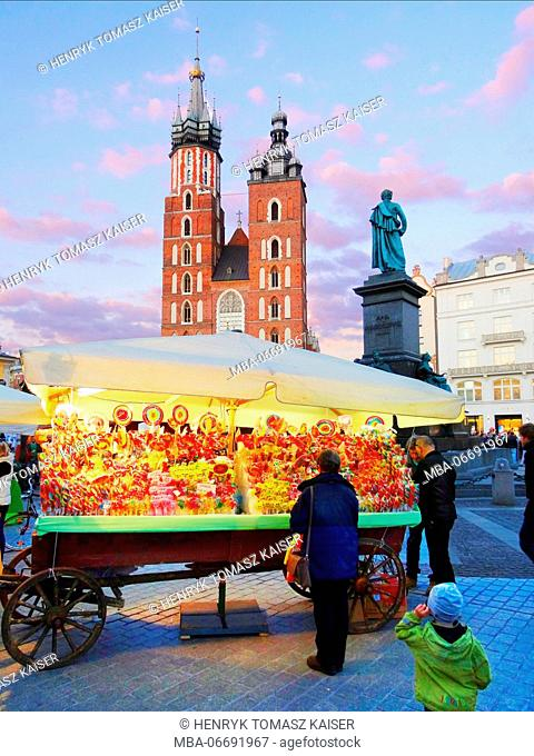 Exhibition of Folk Art at spring on Main Market Square in Krakow, Poland