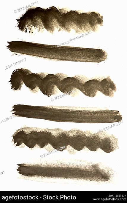 Black watercolor strokes isolated on white background