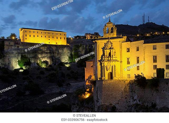 Pablo Convent (foreground) and the Carmelitas Convent high on the cliffs in the city of Cuenca in the La Macha region of central Spain
