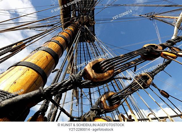 Detail of the rigging of a tall ship