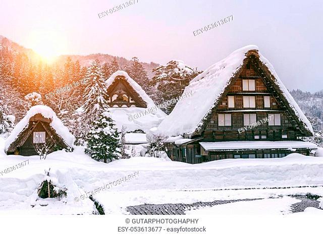 Shirakawa-go village in winter, UNESCO world heritage sites, Japan