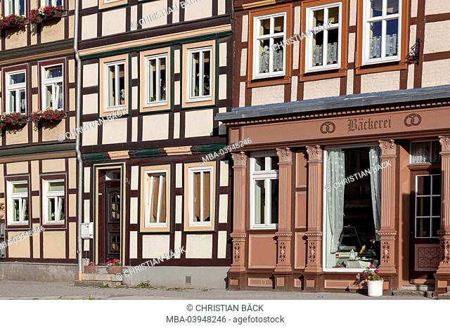 Half-timbered houses in the Old Town of Wernigerode, Harz, Central Germany, Saxony-Anhalt, Germany