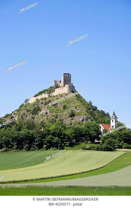 Staatz castle ruins and St Martin's Church, Staatz, Weinviertel, Lower Austria, Austria