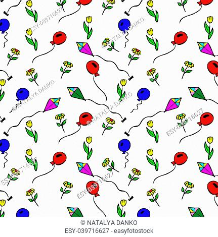 air balloon and a kite drawn by hand, seamless repeating pattern on a white background