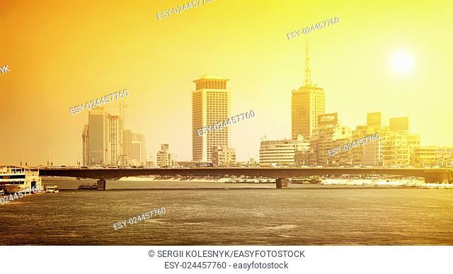 Nile river in the city of Cairo under bright sun