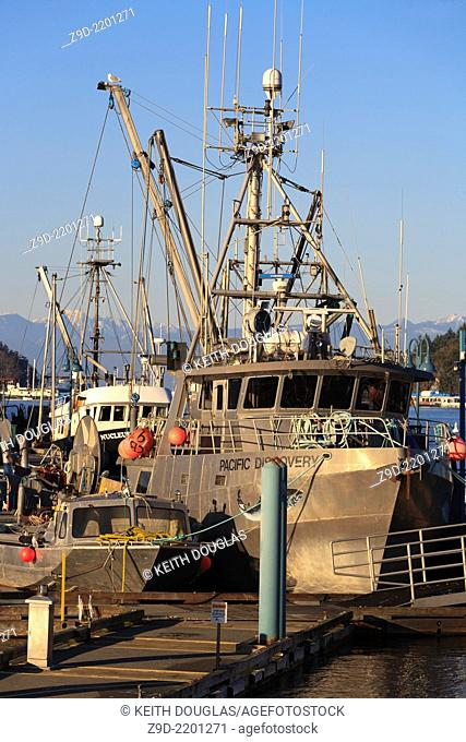 Commercial fishing boats at marina, Nanaimo, Vancouver Island, British Columbia