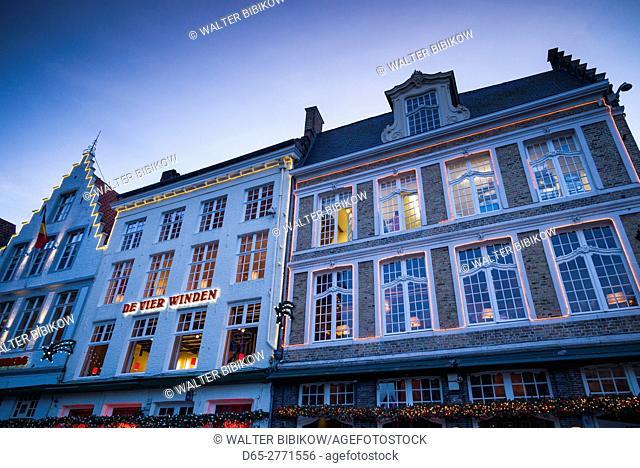 Belgium, Bruges, The Markt, market square buidings, dusk