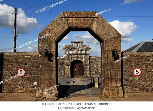 HM Prison Dartmoor, built between 1806 and 1809, main gate and entrance gate with a bell, Princetown, Dartmoor, Devon, England, United Kingdom, Europe