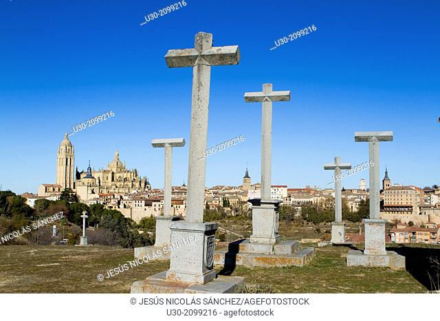 Stations of the Cross and overview of Segovia from Los Altos de la Piedad, city declarated Historical-Artistic Site, and World Heritage by UNESCO