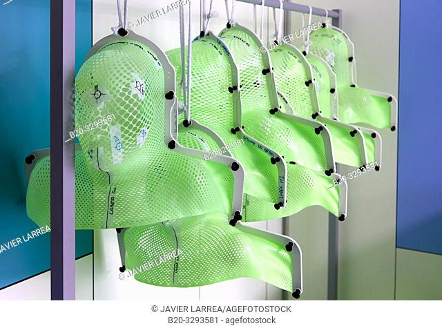 Radiation therapy masks, Radiotherapy, Oncology, Hospital Donostia, San Sebastian, Gipuzkoa, Basque Country, Spain