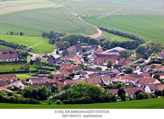 France, Nord-Pas de Calais Region, Pas de Calais Department, Cote d-Opale Area, Escalles, Cap Blanc Nez cape, elevated view of the town of Escalles