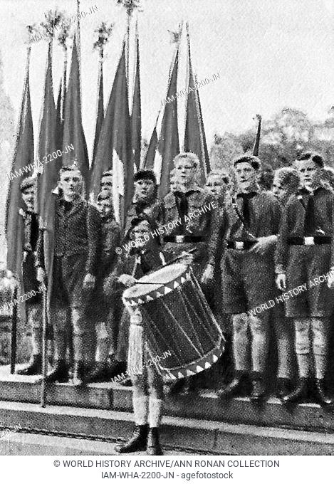 Hitler Youth troop marching circa 1933