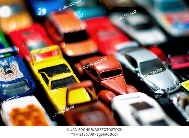 Toy cars on the street market, Bogota, Colombia, 30 May 2010