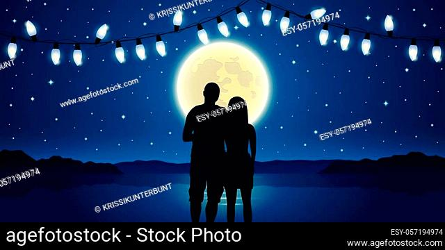 romantic night couple in love at the sea with full moon and fairy lights vector illustration EPS10