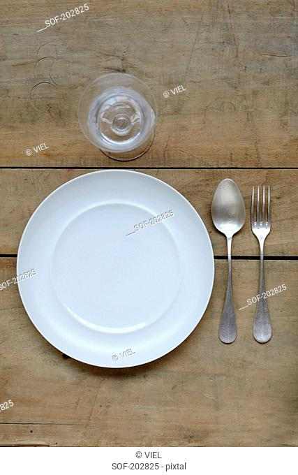 Plate,glass,spoon and fork