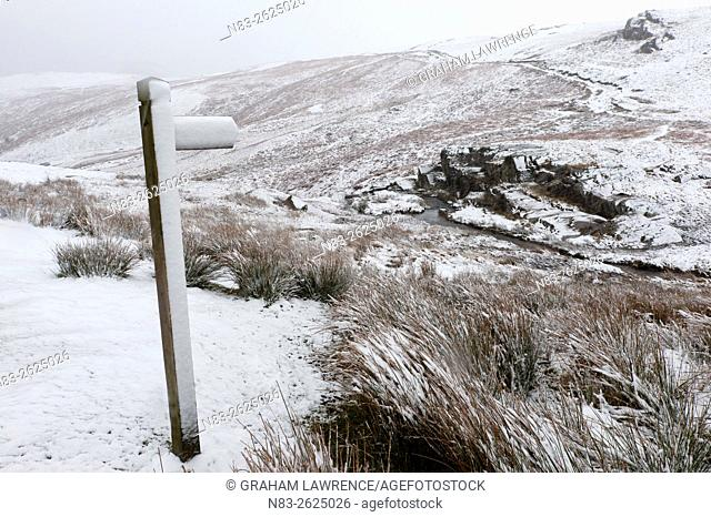 A signpost for a footpath in a wintry landscape in the Elan Valley area in Powys, Wales, UK