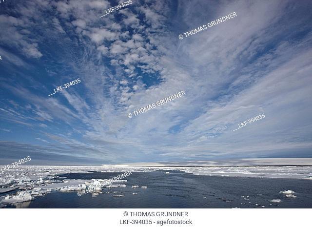 Clouds above the sea, Lagoya, Arctic Ocean, Svalbard, Norway, Europe