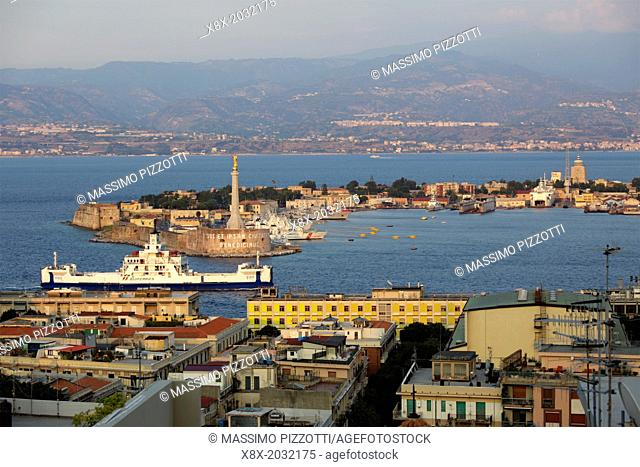 Messina Harbour with Calabria in the background, Sicily, Italy
