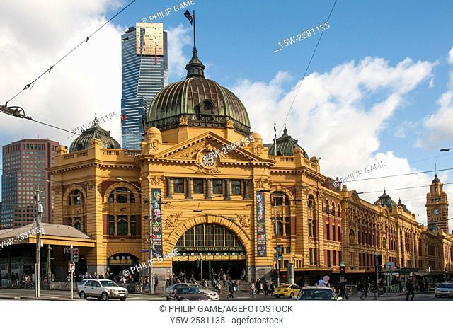 Flinders Street Station with the Eureka Tower beyond, Melbourne, Australia