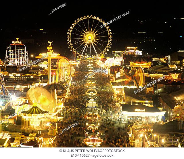 View from St Pauls Church to the Oktoberfest at night Munich Germany