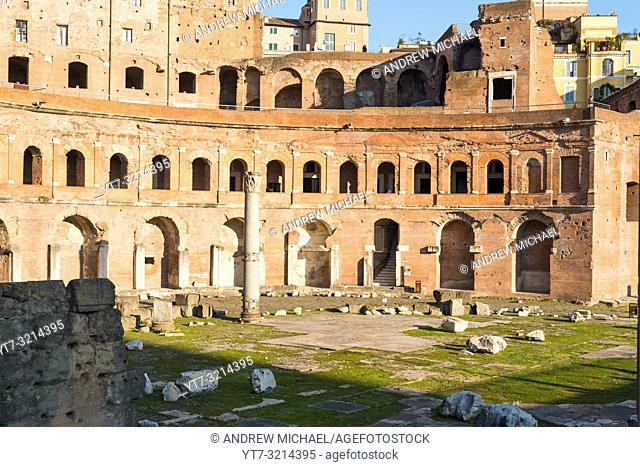 Trajan's Market and Forum is a large complex of ruins in the city of Rome, Italy, located on the Via dei Fori Imperiali, Rome, Lazio, Italy