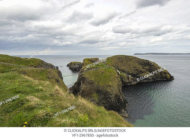 The Carrick a Rede Rope Bridge, Northern Ireland, Antrim, Ballycastle, Ballintoy, United Kingdom