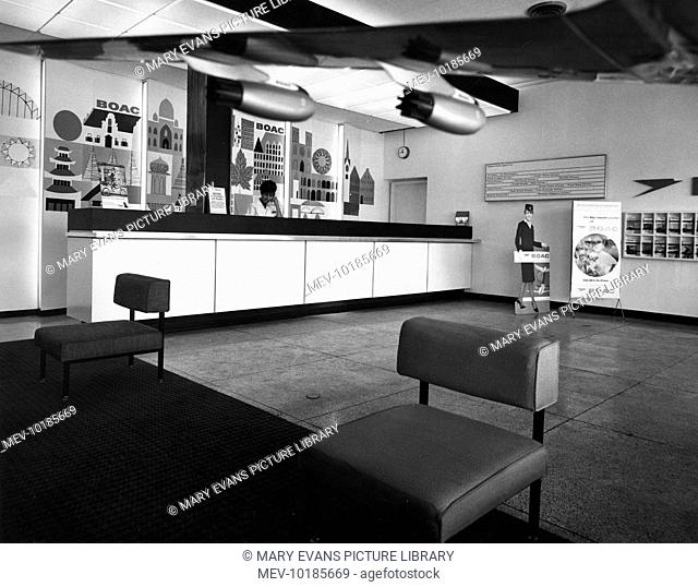 The Help Desk of a rather empty waiting lounge in the BOAC Building, Port of Spain Airport, Trinidad, West Indies