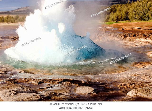 A geyser at Geysir in Iceland, the place after which all the worlds geysers are named
