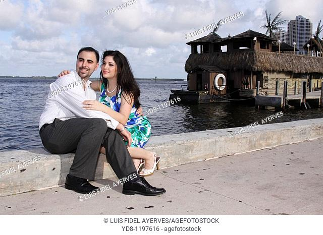 Engaged couple Bayside, Miami, Florida, USA