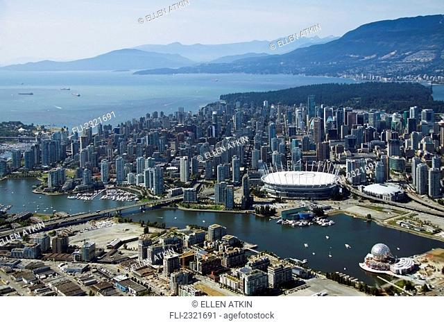 Aerial View Of Downtown Vancouver On A Sunny Summer Day;Vancouver British Columbia Canada