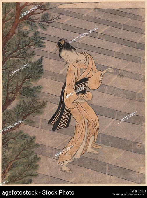 Young Woman Climbing Stone Stairs to a Shinto Temple. Artist: Suzuki Harunobu (Japanese, 1725-1770); Period: Edo period (1615-1868); Culture: Japan; Medium:...