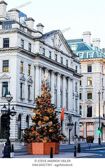 England, London, Regent Street, Waterloo Place and St James Christmas Tree