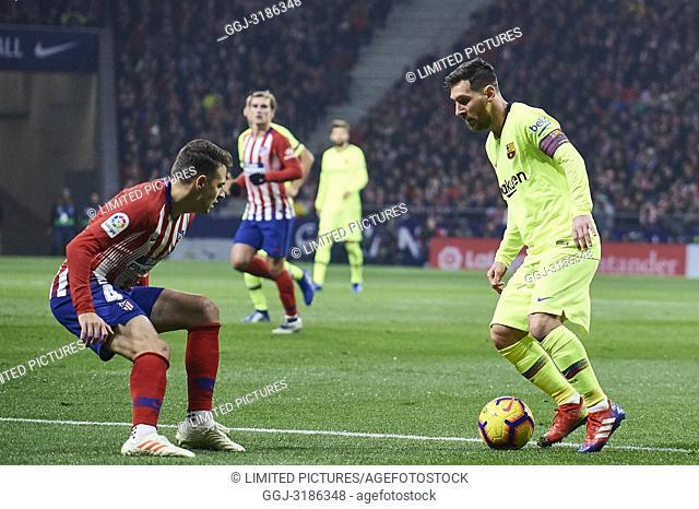 Lionel Messi (forward; Barcelona) before La Liga match between Atletico de Madrid and F.C. Barcelona at Wanda Metropolitano on November 24, 2018 in Madrid