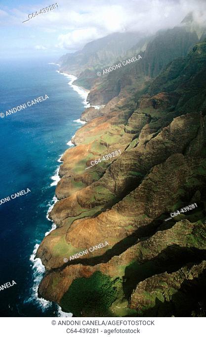 Aerial view. Napali Coast. Kauai island. Hawai