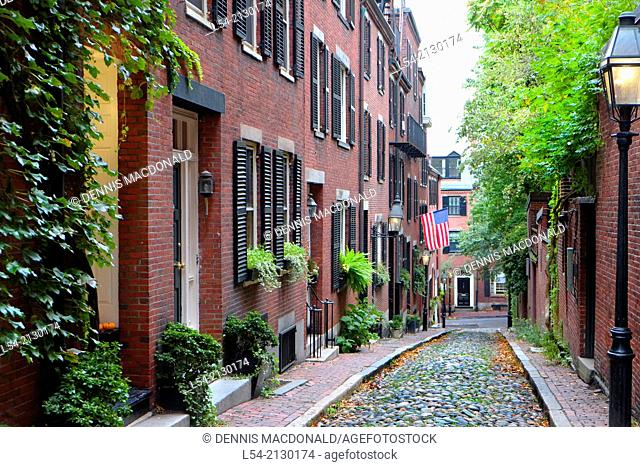Historic Acorn Street on Beacon Hill in dowtown Boston Massachusetts MA