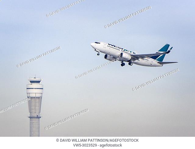 Westjet takeoff. Calgary, Alberta, Canada
