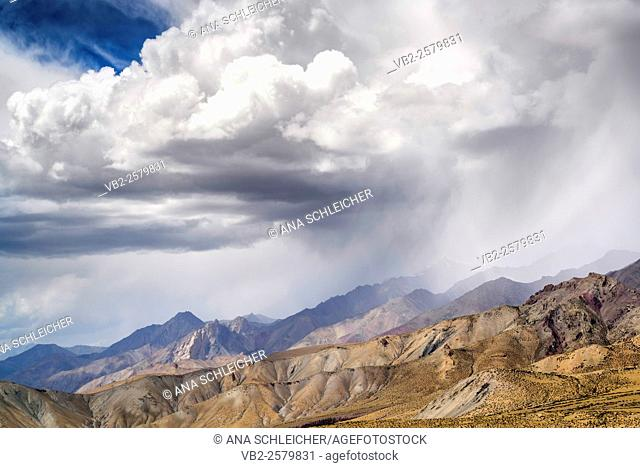 Storm on top of the Himalaya. Trekking in Markha valley (Laddakh, India)
