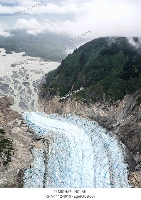 Aerial view of the Davidson Glacier, a valley glacier formed in the Chilkat Range near Haines, Alaska, United States of America