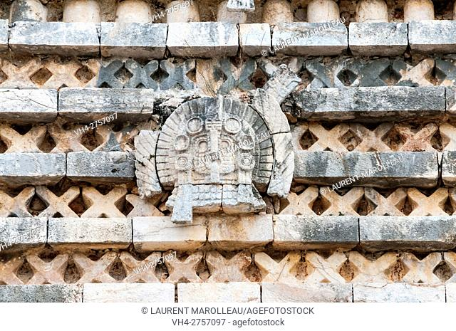 Puuc Geometric Design on Facade of the Nunnery Quadrangle, Uxmal Mayan Archaeological site, State of Yucatan, Mexico, North America