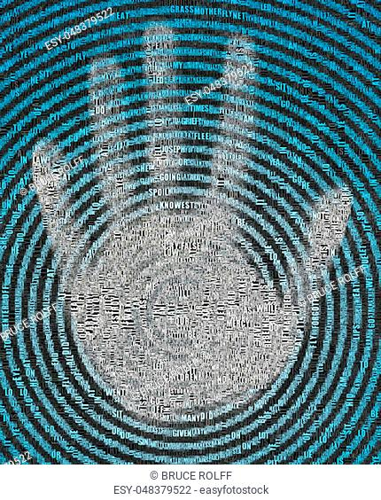 Palm on concentric circles. Image composed entirely of text, words