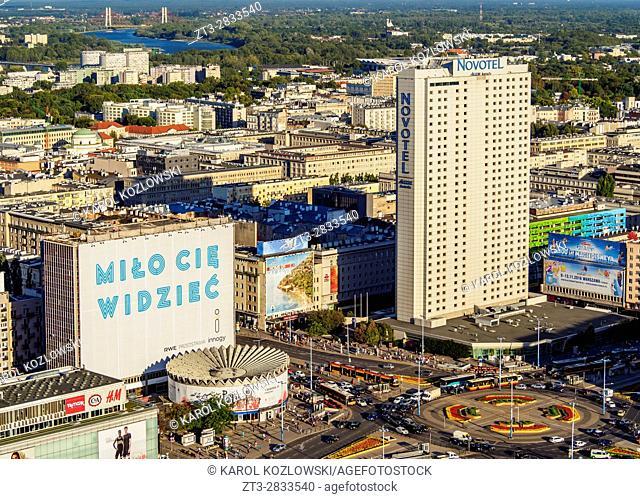 Poland, Masovian Voivodeship, Warsaw, City Center, View towards PKO Rotunda and Hotel Novotel