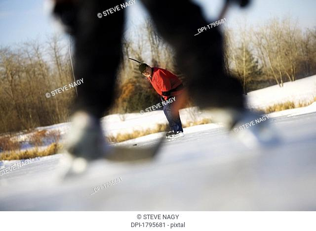 Playing hockey