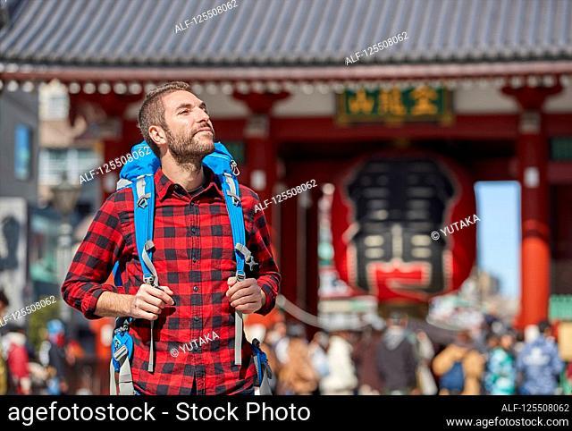 Caucasian man visiting Tokyo, Japan