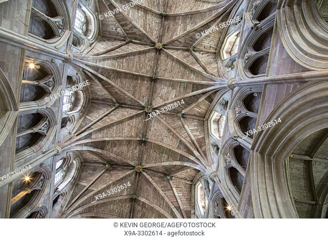 Ceiling of Cathedral Church, Worcester, England, UK