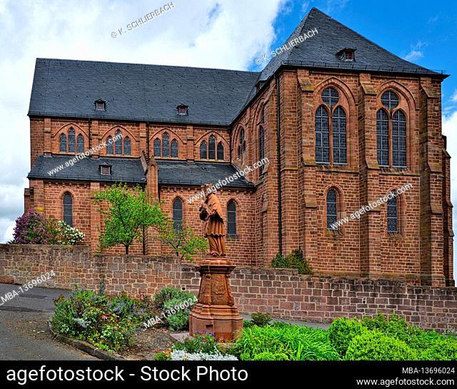 Europe, Germany, Hessen, Central Hesse, Marburg-Biedenkopf district, Amöneburg basin, town of Amöneburg, collegiate church Johannes-der-Täufer with Bonifatius...