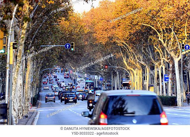 Gran Via de les Corts Catalanes, Sants-Montjuïc, city center of Barcelona, Catalonia, Spain, Europe