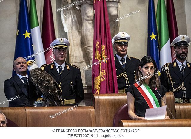 The eagle Olimpia, mascot of the S.S. Lazio, Mayor of Rome Virginia Raggi during the prizegiving at Campidoglio Palace, Rome, ITALY-10-07-2019