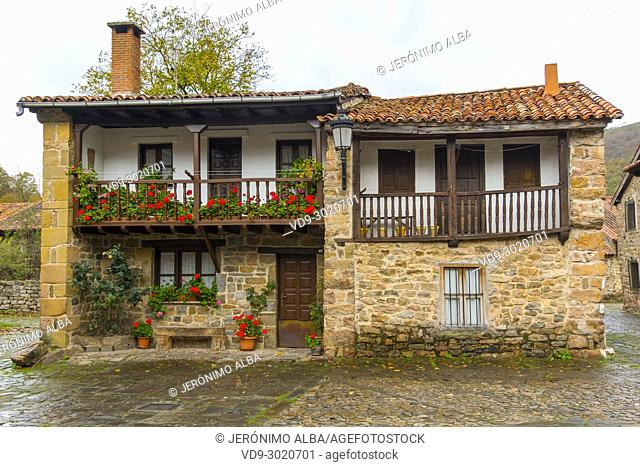 Typical stone house. Rural Village of Barcena Mayor Los Tojos. Saja Natural Park, Saja-Nansa, Cantabria, Spain Europe